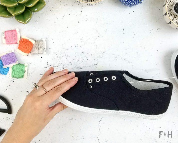 black canvas shoes on desktop