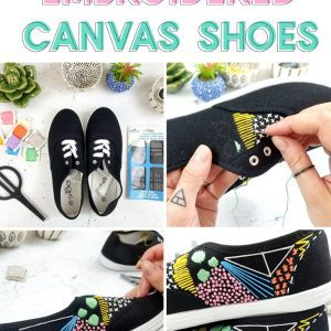 black embroidered shoes tutorial