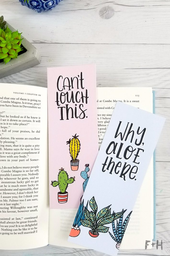succulent printable bookmarks