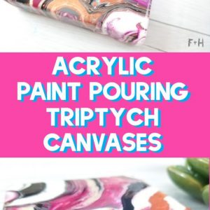 acrylic paint pouring triptych canvases