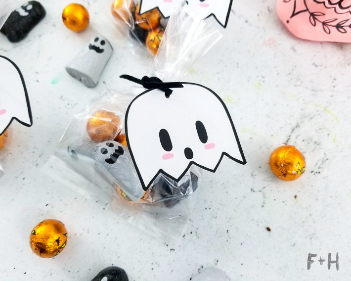 kawaii halloween kawaii ghost candy bag tags