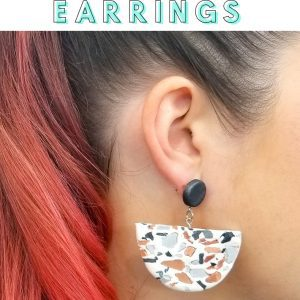faux terrazzo statement earrings