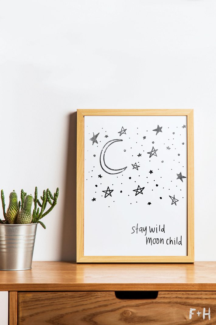 Free Black And White Quot Stay Wild Moon Child Quot Art Print