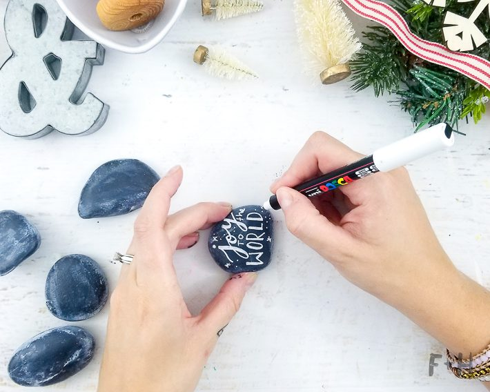 Christmas Rock Painting Images.Hand Lettered Christmas Rock Painting Fox Hazel