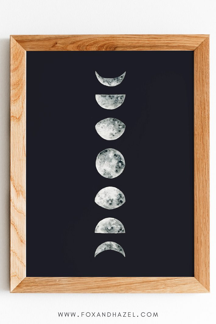 free moon phase wall art print