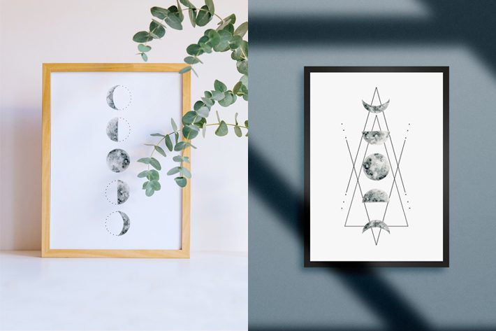 free moon phase wall art from fox + hazel
