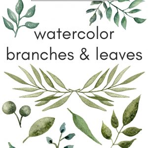 free watercolor branches and leaves
