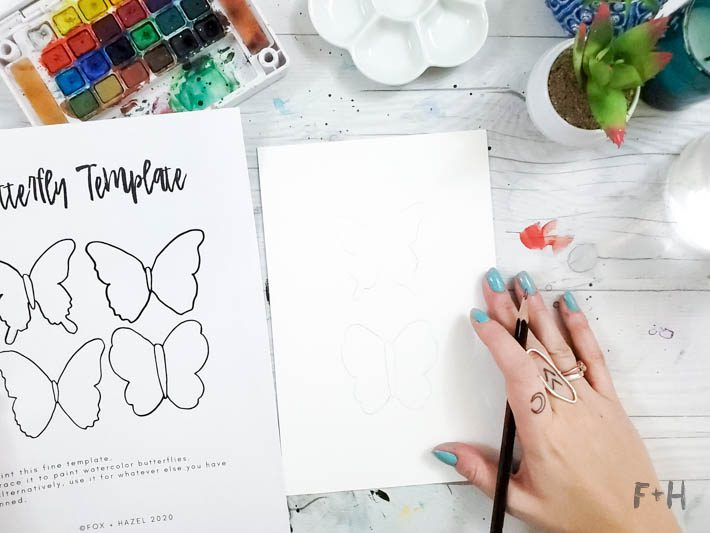 painting butterflies in watercolor tutorial