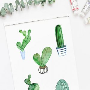 watercolor cactus clipart on sketchpad
