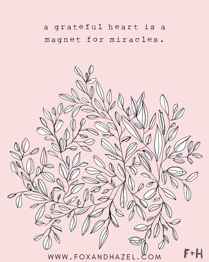 a grateful heart is a magnet for miracles pink art print