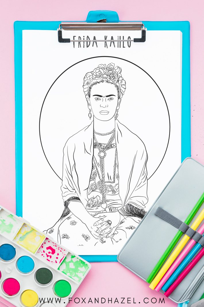 frida kahlo printable coloring page