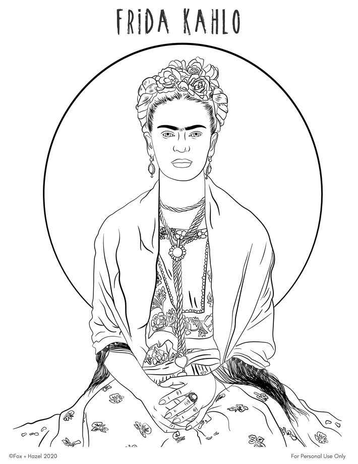 - Free Frida Kahlo Printable Coloring Page Fox + Hazel