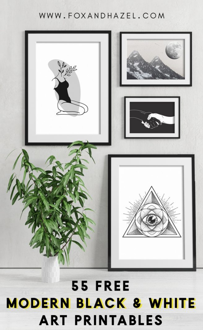 modern gallery of black and white art printables