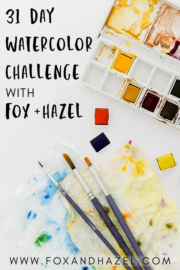 watercolor paints on white background
