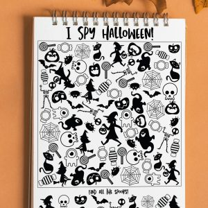 halloween I spy printable on notepad