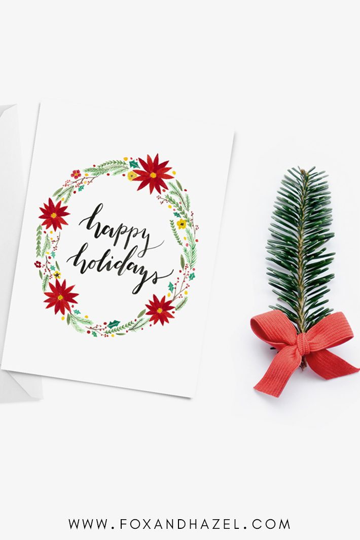 happy holidays free christmas card printable